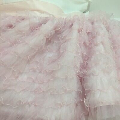 "Baby Bed Crib Skirt Pink Ruffles 19"" Long"
