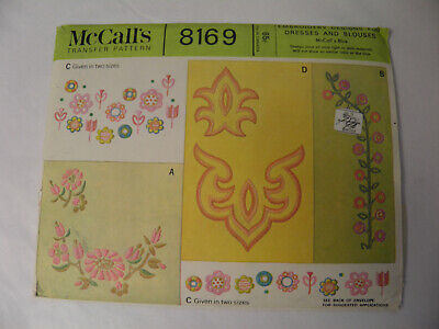 Vintage McCall's 8169 Embroidery Designs Transfer Pattern - 1965