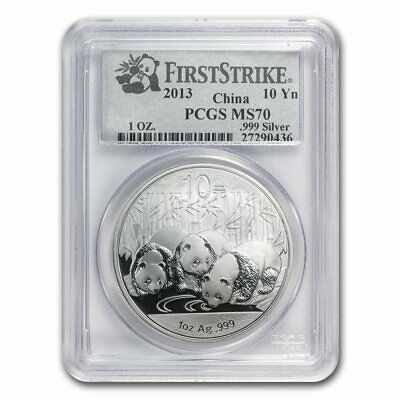 2013 China 1 Oz .999 Silver Panda 10 Yuan Pcgs Ms70 *first Strike* --> Ms70 !