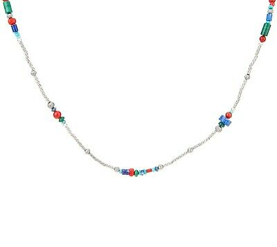 """American West Sterling Silver Multi Gemstone Oxidized 24"""" Bead Necklace Qvc"""