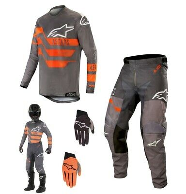 Alpinestars Racer Flagship Enduro Motocross Combo 2019 grau orange
