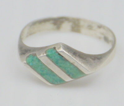 Vintage Mexican Sterling Silver Ring, Green Turquoise Inlay, Signed Drm Size 5.5