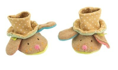 Moulin Roty Les Tartempois Tan Soft Baby Slippers 0 - 6 months from Wyestyles