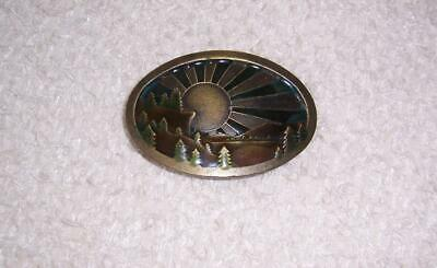 Vintage 1977 INDIANA METAL CRAFT Enamel Brass BELT BUCKLE Sun MOUNTAINS Trees