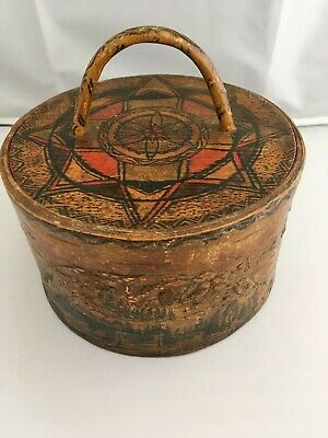 SUPERB DECORATIVE 19th CENTURY PAINTED BENTWOOD SWEDISH BOX - LANDSCAPE 7 inches