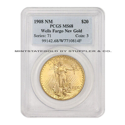 1908 $20 Saint Gaudens PCGS MS68 No Motto Wells Fargo Gold Double Eagle Coin