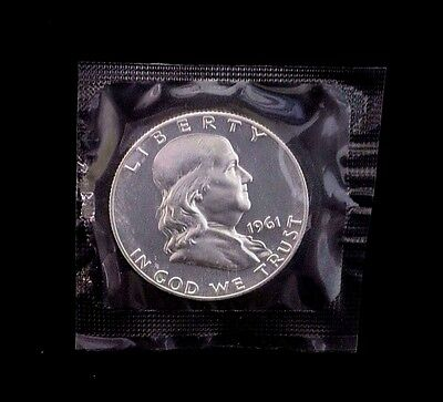 1961 Franklin 50c Half Dollar Silver Proof Coin In Cello