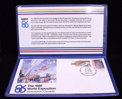 1986 Vancouver Canada World Exposition First Day Cover Stamp Collectible Folder