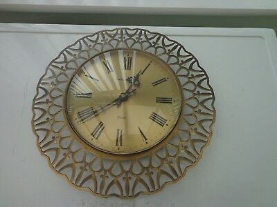 Vintage Brass Fleur De Lys Quartz Wall Clock By London Clock Company West German