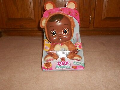 New, Interactive Cry Babies Real Tears African American Doll, Bonnie