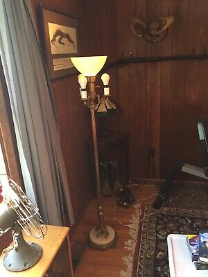 Antique 1930s 4 Bulb Torchiere Candelabra Floor Lamp Art Deco Marble base Brass
