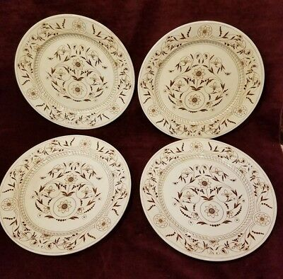 Antique c1883 - 1891 T.G. and F. Booth Pottery DRESDEN Brown 4 Dinner Plates