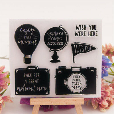 Travel rubber Clear Stamp Cling Seal Scrapbooking Diary Card DIY Decor Craft JM