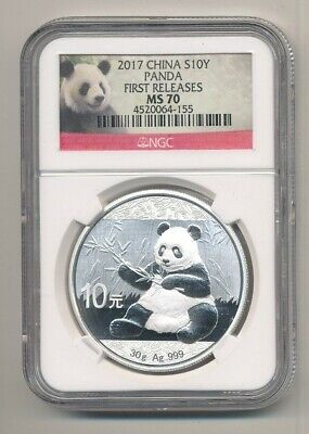 2017 Silver China Panda 10 Yuan 1 oz Coin NGC MS 70 First Releases Exact Shown