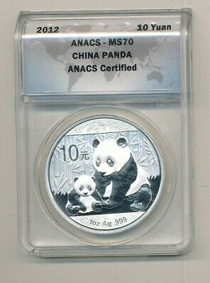 2012 China Silver Panda ANACS MS 70 10Y 1 oz .999