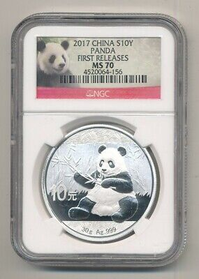 2017 China Silver Panda 1 oz .999 NGC MS 70 S10Y First Releases