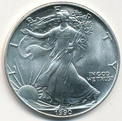 1990 American Silver Eagle 1 oz .999 Silver Exact Coin Shown