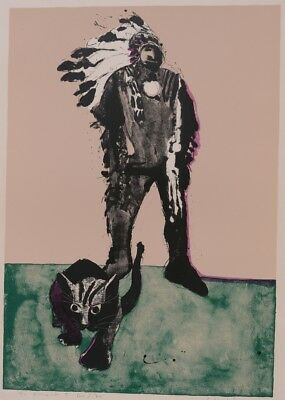 Untitled Fritz Scholder Lithograph, 30x22 Indian Chief and Cat