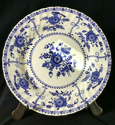 """Set of 4 Johnson Bros Brothers England INDIES Blue Pattern 9.5"""" DINNER PLATES"""
