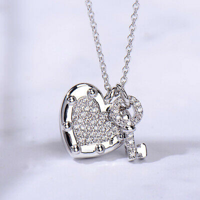 a7e925dc12d Warm Love Heart Key Shape Cubic Zirconia Pendant White Gold Plated Necklace  Gift