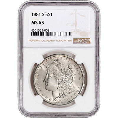 1881-S US Morgan Silver Dollar $1 - NGC MS63