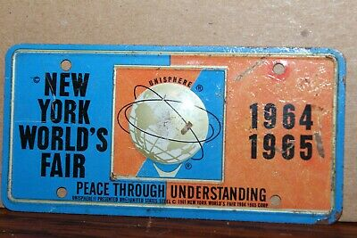 VINTAGE 1964-65 NEW YORK WORLD's FAIR BICYCLE LICENSE PLATE