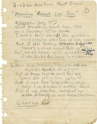 James Taylor ORIGINAL MANUSCRIPT FOR KNOCKING 'ROUND THE ZOO 1966 #99617
