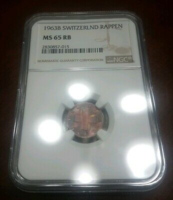1963 B Switzerland Swiss 1 Rappen NGC MS65RB TONED - MI#
