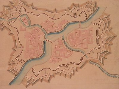 OLD antique French 18th Century Original MAP PAINTING 1700s Watercolor artwork