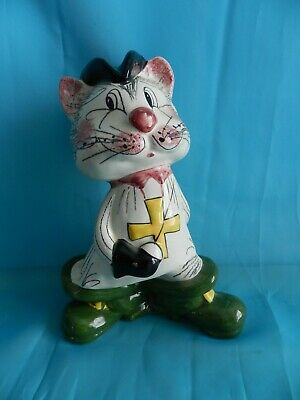 Whimsical Vintage Mid-Century Italian Ceramic Puss-in-Boots Piggy Bank