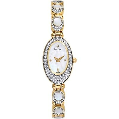 Bulova Mop Dial Crystals Gold-Tone Stainless Steel Ladies Watch 98L004 New