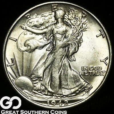 1942-S Walking Liberty Half Dollar, Near Gem BU Blazer