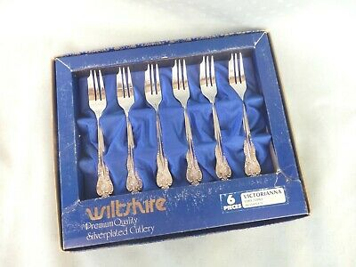 BOXED  SET  6  WILTSHIRE  VICTORIANNA  CAKE/Sweet  FORKS  Silver PLATE  VINTAGE