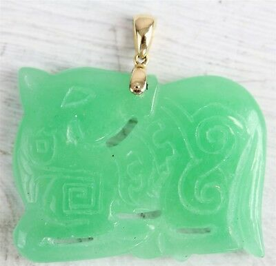 Vintage Asian 14 K Gold Green Jade Carved Horse Pendant Luxury Design N3334