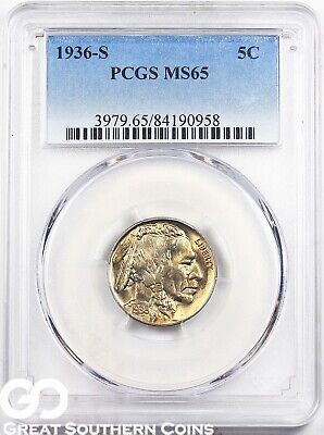 1936-S Buffalo Nickel PCGS MS 65 ** Great Strike, Very Nice!