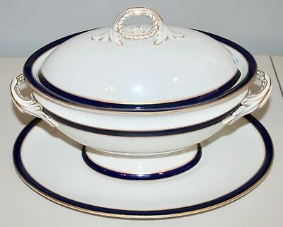 Royal Worcester Covered Soup Tureen with Base Cobalt Blue Very Nice England