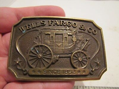 Vintage 1973 Wells Fargo & Company Since 1852 Stage Coach Brass Belt Buckle
