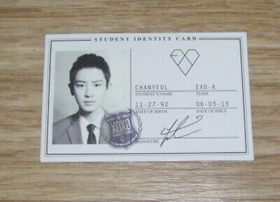 EXO K M 1st Album XOXO ChanYeol Studant ID Photo Card Kor.ver Official