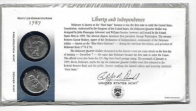 Beautiful 1999  DELAWARE  D  P State Quarter Set FIRST DAY COVER From US Mint