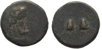 Rare Ancient Greece 1 Cent BC CARIA TABAI ZEUS PILOI STAR DIOSKOUROI