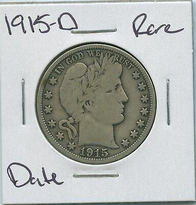 1915-D Barber Silver Half Dollar Rare Date US Mint Coin