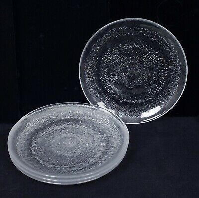 Iittala Finland Tapio Wirkkala Solaris Set 4 Art Glass Luncheon Plates Orig Box