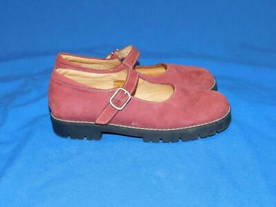 f06adc2b7b6d Lands End Girls 2 Pink Suede Leather Mary Jane Shoes Buckle Strap Flats Kids
