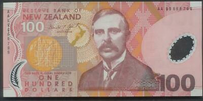 New Zealand, $100 Brash AA99 First Prefix Polymer Uncirculated