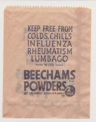 Vintage Beechams Pills advertising paper bag..Chemist item.