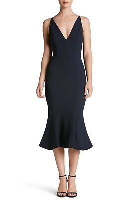 f2b1dae5cbf7 NEW DRESS the POPULATION Navy Isabelle Crepe Stretch Bodycon Mermaid Midi  LARGE