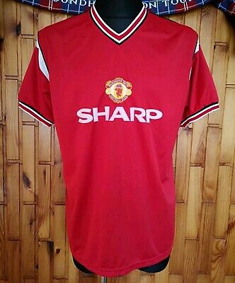 Manchester United FC 1984-86 Vintage SCORE DRAW Retro Replica Home Shirt Jersey