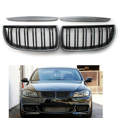For BMW E90 91 05-08 Grill Carbon Fiber Printed Double Slat Grille Pre-facelift