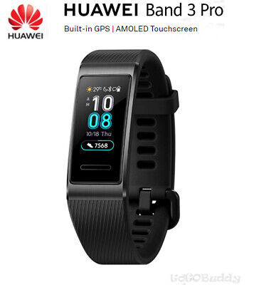 New HUAWEI Band 3 Pro Built-in GPS AMOLED Touchscreen Heart Rate Smartwatch BlK