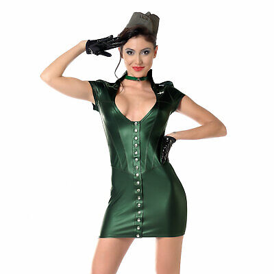 PATRICE CATANZARO Aka Uniform-Kleid Olive Metallic Grün Khaki Robe Green Dress